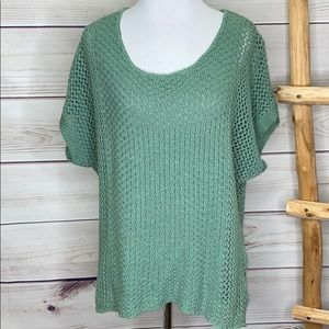 Monoreno Teal Green Crochet Dolman Sweater Large